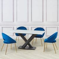 Set of 2 ROME Oval Velvet  Dining Chairs - Royal  Blue and Gold